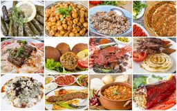 Traditional delicious Turkish foods collage. Food concept photo.  royalty free stock image
