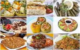 Traditional delicious Turkish foods collage. Food concept photo.  royalty free stock images