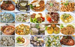 Traditional delicious Turkish foods collage. Food concept photo.  royalty free stock photos