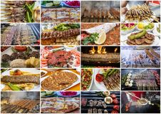 Traditional delicious Turkish foods collage. Food concept photo stock photo