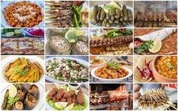 Traditional delicious Turkish foods collage. Food concept photo royalty free stock photography