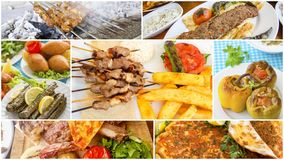 Traditional delicious Turkish foods varietes collage. Food concept photo.  stock images