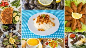 Traditional delicious Turkish foods varietes collage. Food concept photo.  royalty free stock photo