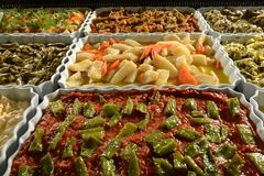 Traditional delicious Turkish foods varieties. Food concept photo.  royalty free stock photo