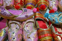 Traditional design Turkish shoes. A covering for the foot, typically made of leather, with a sturdy sole and not reaching above the ankle Royalty Free Stock Photo