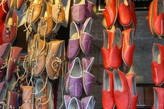 Traditional design Turkish shoes. A covering for the foot, typically made of leather, with a sturdy sole and not reaching above the ankle Royalty Free Stock Photos
