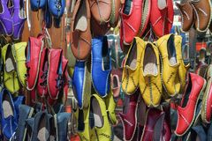 Traditional design Turkish shoes. A covering for the foot, typically made of leather, with a sturdy sole and not reaching above the ankle Royalty Free Stock Image