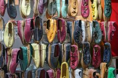 Traditional design Turkish shoes. A covering for the foot, typically made of leather, with a sturdy sole and not reaching above the ankle Stock Image
