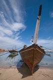 Traditional Dhow. A dhow (Arabic,داو) is a traditional Arab sailing vessel with one or more lateen sails. It is primarily used to carry heavy items, like Royalty Free Stock Photos