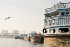 Traditional dhow boats moored up at dubai creek dubai, uae Royalty Free Stock Images