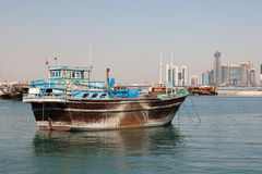 Traditional dhow in Doha, Qatar. Traditional arabian dhow in Doha, Qatar, Middle East Stock Photos