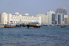 Traditional dhow in Dubai Creek Royalty Free Stock Photography