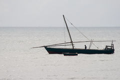 Traditional dhow in the Indian ocean in Tanzania Royalty Free Stock Photography