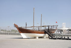 A traditional dhow kept at the venue of Formula 1 Royalty Free Stock Image