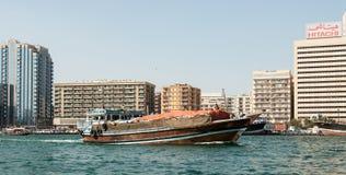 Traditional dhows on the creek at Deira, Dubai, UAE Stock Photos