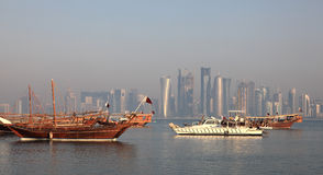 Traditional dhows in Doha Royalty Free Stock Photography