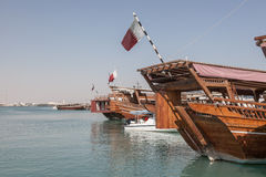Traditional dhows in Doha, Qatar. Traditional arabian dhows in Doha, Qatar, Middle East Royalty Free Stock Photo