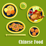 Traditional dinner of chinese cuisine, flat style Stock Photography
