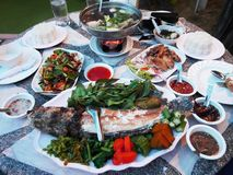 Traditional dinner cuisine food set thai style on table at restaurant royalty free stock image
