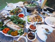 Traditional dinner cuisine food set thai style on table at restaurant stock photos