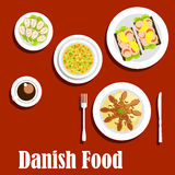Traditional dinner of danish cuisine Royalty Free Stock Photography