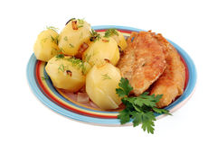 Traditional dinner potatoes with fish Stock Images