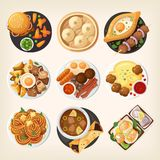 Traditional dinners of different world countries. Dinner table closeup. Top view on classic dinner dishes from different countries of the world. Food from vector illustration