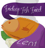 Traditional Dish of Fish Fried for Lent, Vector Illustration. Design with a delicious and traditional dish for Lent: fried fish with fasting bread and lettuce vector illustration