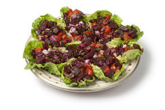 Traditional dish with Moroccan beet salad Stock Photography