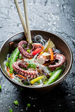 Traditional dish with octopus and noodles Royalty Free Stock Photos