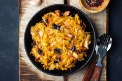 Traditional dish of polish cuisine - Bigos from fresh cabbage, meat and prunes royalty free stock images