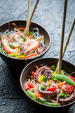 Traditional dish with seafood and noodles Royalty Free Stock Photo