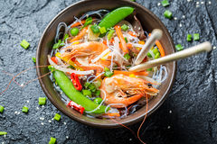 Traditional dish with shrimp and noodles Royalty Free Stock Images