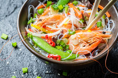 Traditional dish with shrimp and noodles Stock Photos