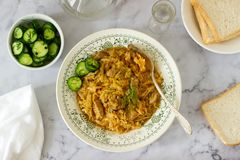 A traditional dish of some European countries is bigos made from cabbage, other vegetables and meat. Selective focus stock image