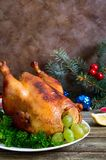 Traditional dish turkey on the holiday table. Festive dinner for Thanksgiving or Christmas.  stock image