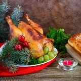 Traditional dish turkey on the holiday table. Festive dinner for Thanksgiving or Christmas.  stock photo
