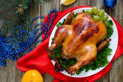 Traditional dish turkey on the holiday table. Festive dinner for Thanksgiving or Christmas.  stock images