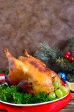 Traditional dish turkey on the holiday table. Festive dinner for Thanksgiving or Christmas.  royalty free stock photos