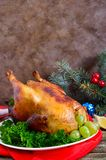 Traditional dish turkey on the holiday table. Festive dinner for Thanksgiving or Christmas.  royalty free stock images