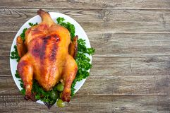 Traditional dish turkey on the holiday table. Festive dinner for Thanksgiving or Christmas. The top view royalty free stock photos