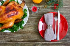 Traditional dish turkey on the holiday table. Festive dinner for Thanksgiving or Christmas. The top view. Christmas Xmas New Year holiday background royalty free stock images