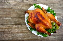 Traditional dish turkey on the holiday table. Festive dinner for Thanksgiving or Christmas. The top view royalty free stock images
