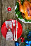 Traditional dish turkey on the holiday table. Festive dinner for Thanksgiving or Christmas. The top view. Christmas Xmas New Year holiday background royalty free stock photography