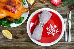 Traditional dish turkey on the holiday table. Festive dinner for Thanksgiving or Christmas. The top view. Christmas Xmas New Year holiday background royalty free stock photos