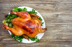 Traditional dish turkey on the holiday table. Festive dinner for Thanksgiving or Christmas. The top view stock photos