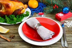 Traditional dish turkey on the holiday table. Festive dinner for Thanksgiving or Christmas. Christmas Xmas New Year holiday background stock image