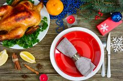 Traditional dish turkey on the holiday table. Festive dinner for Thanksgiving or Christmas. Christmas Xmas New Year holiday background royalty free stock photo