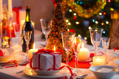 Traditional dishware on Christmas table Royalty Free Stock Photography