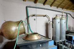 During traditional distillation of alcohol and production of hom Stock Photography